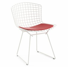 Стул HARRY BERTOIA SIDE CHAIR, белая сталь + подушка красная